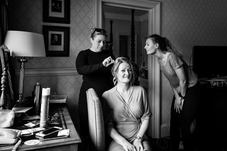 Bride getting ready at Hanbury Manor by Hertfordshire wedding photographer Graham Warrellow